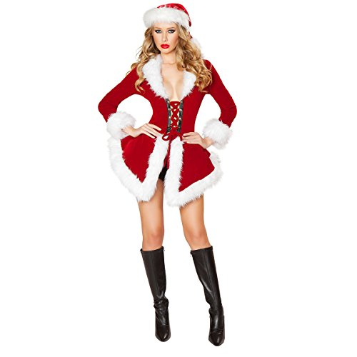 [Quesera Women's Christmas Lingerie Sexy Santa Outfit Dress Velet Corset Costume, Red, 2-8] (Lady Santa Outfit)