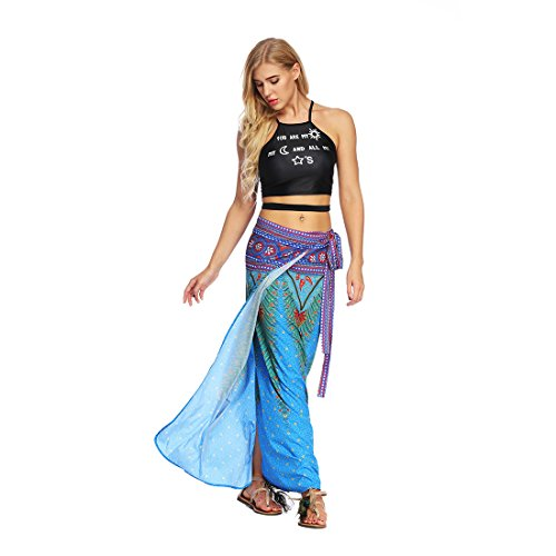 La Jiayiqi Femme Tie Envelopper Up Up Cover Bleu Bohme Imprim Jupe A6qWnSA