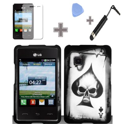 Rubberized Black Grey Ace Spade Skull Snap on Design Case Hard Case Skin Cover Faceplate with Screen Protector, Case Opener and Stylus Pen for LG 840g - StraightTalk/ Net 10/ Tracfone