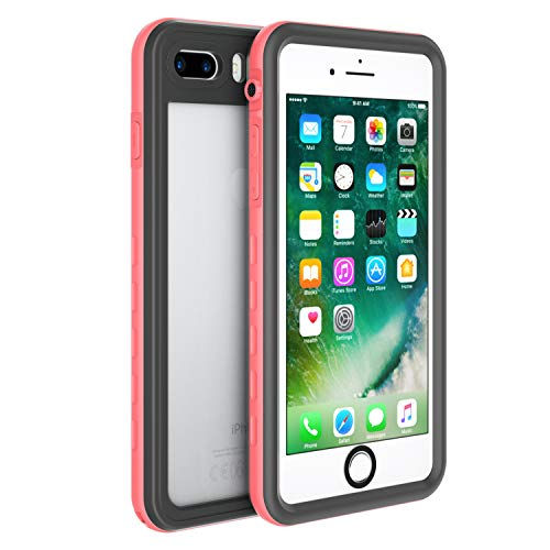 Fansteck iPhone 8 iPhone 7 Waterproof Case, IP68 Full-Body Protect Rugged Slim Crystal Case with Built-in Screen Protector, Waterproof/Snowproof/Shockproof/Dirtproof, 4.7 inch (Pink)