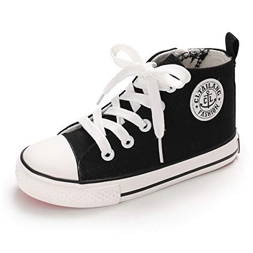 E-FAK Toddler Kids Boys Girls Canvas Sneakers High Top Lace up Casual Walking Shoes(Toddler/Little Kid/Big Kid) (1 M US Little Kid, A-Black)