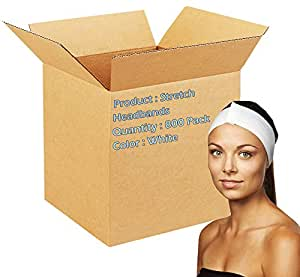 Dukal Stretch Headbands. Case of 800 disposable headbands for spa treatments. Hook and loop closure. Soft flexible material. Latex-free. White color.