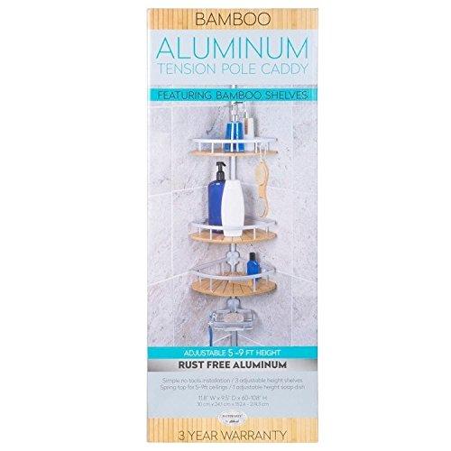 - Richards Homewares 4 Tier Shower Bathtub Tension Pole Caddy - Bamboo Aluminum Baskets - 11.8