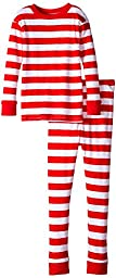 New Jammies Big Boys\' Snuggly Pajama, Classic Stripes/Red/White Red Trim, 10