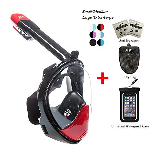 180° Snorkel Mask View for Adults and Youth. Full Face Free Breathing Design.[Free Bonuses] Cell Phone Universal Waterproof Case (Dry Bag) and Anti-Fog Wipes (Black&Red, Small/Medium)