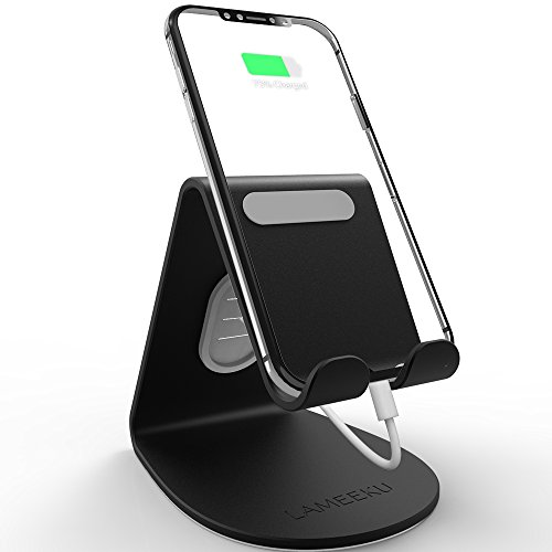 LAMEEKU Compatible Cell Phone Stand Replacement for iPhone Stand, 4mm Thickness Aluminum Desktop Cradle Dock, ARC Charging Station for Switch, All Smartphone, iPhone Xs Max XR XS 8 Plus, iPad, Black