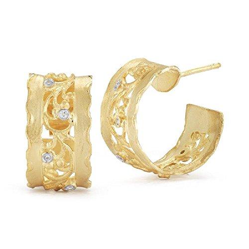 14K Yellow Gold Matte-Finish Filigree Hoop Diamond Earring Pair