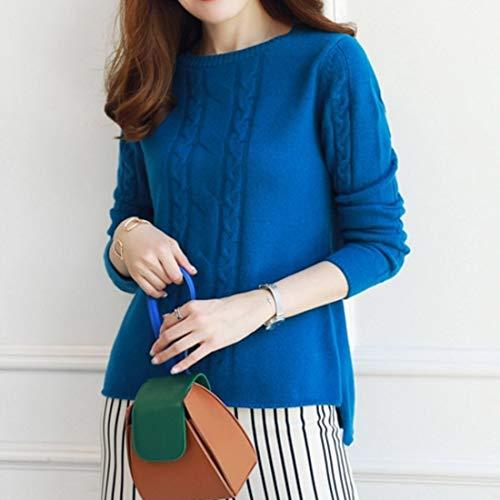 Rotondo Lunga Con color A l Collo Maglione Manica Mifusanahorn Blue Donna S Girocollo S Da Size Blue nAzx4SSBw