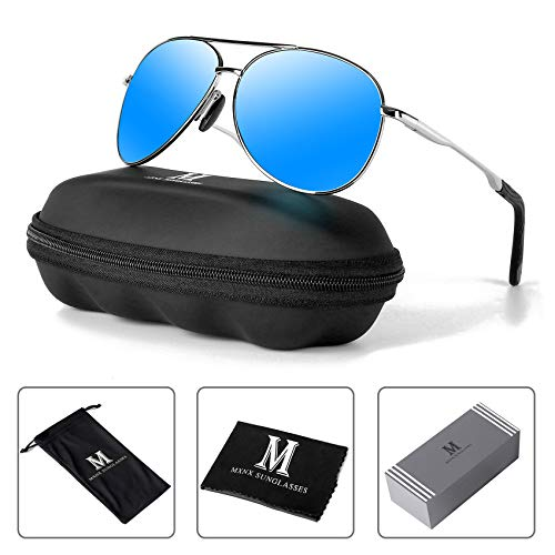 Aviator Sunglasses for Men Polarized Women-MXNX UV Protection Lightweight Driving Fishing Sports Mens Sunglasses MX208-(Silver/Mirror Blue Lens)