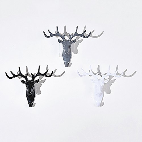 Colorido Fashion Deer Head Antlers Self Adhesive Hook Keys Hat Holder Wall Door Hanger size Medium (White) by Colorido (Image #1)