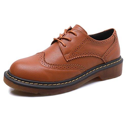 Meeshine Womens Brogue Oxfords PU Low Flat Heel Lace Up Wingtip Vintage Dress Shoes Brown 8 ()
