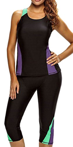 Cromoncent Womens Sleeveless Skinny Contrast Color Waterproof Rash Guard Shirt Swimsuit Black M by Cromoncent