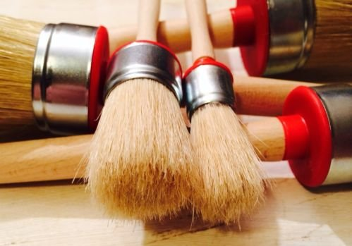 #PR5-5 x CHALK PAINT AND WAX natural bristle ROUND BRUSHES 5 sizes 35mm 50mm 55mm 20mm 40mm