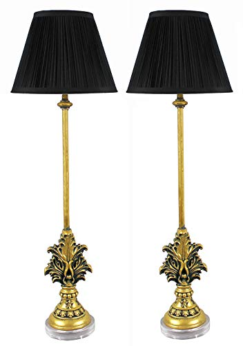 - Urbanest Set of 2 Louis Buffet Lamps, Antique Gold with Black Pleated Shades, 27-inch Tall