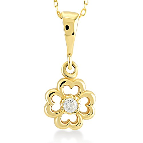 Gelin 14k Yellow Gold Heart Shaped 4-Four Leaf Clover Pendant Chain Necklace Women - Certified Fine Jewelry Birthday Gift Good Luck, 18 -