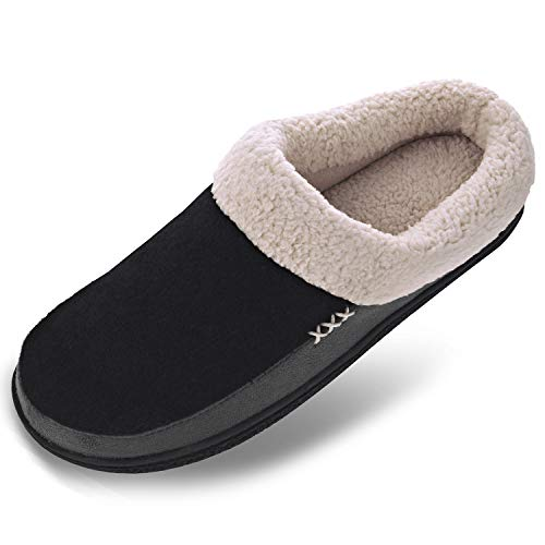 Men's Wool Plush Fleece Memory Foam Slippers Slip On Clog House Shoes Indoor Outdoor, 13-14 Black/Grey