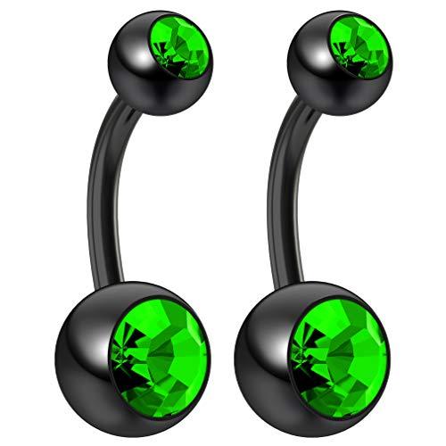 Bling Piercing 2pc 14g Peridot Belly Button Rings 10mm 3/8 Flexible Acrylic Black Plastic Crystal Gem Navel Ring