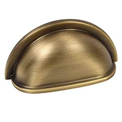 """25 Pack - Cosmas 4310BAB Brushed Antique Brass Cabinet Hardware Bin Cup Drawer Handle Pull - 3"""" Inch (76mm) Hole Centers"""