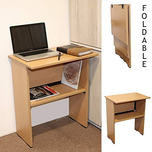 Photo of Spacecrafts Wooden Folding Computer Table for Laptop Study Office Desk (Standard, Beige)