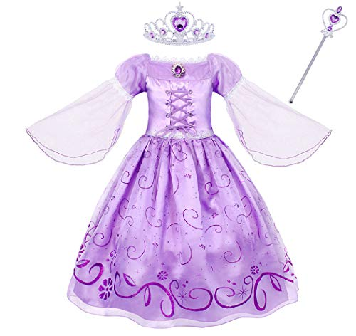 Tangled Wedding Dress Costume (Jurebecia Girls Princess Tangled Rapunzel Lace up Dress Costume Size)