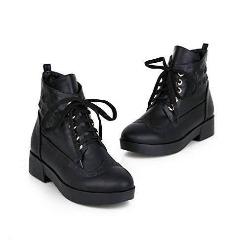 Leather Square Heels Bandage Imitated 1TO9 Black Ladies Platform Boots tYEY5wq