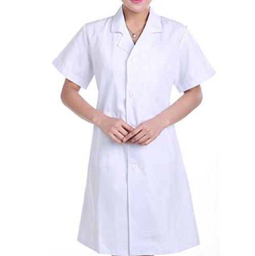 - Nanxson(TM Men's Women's Short Sleeve Doctor Uniform Lab Uniform Coat White CF9006 (XL, Women White)