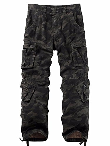 Canvas Trousers - Must Way Men's Cargo Regular Trouser Army Combat Work Trouser Workwear Pants with 8 Pocket 3357 B Camo 44