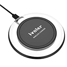 Wireless Charger, iVoler Ultra-Slim Wireless Charging Pad for Samsung S8/S8 Plus/S7/S7 Edge/S6/S6 Edge, Nexus 7/6/5/4(2013), Nokia Lumia 920, LG Optimus Vu2, HTC 8X / Droid DNA and All Qi-Enabled Devices