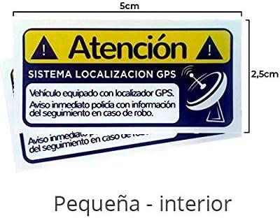 Pegatinas disuasorias localizador GPS vehiculos, Coches Camiones Bicicletas. Adhesivos disuasorios localización satelite (2X Interior pequeñas)