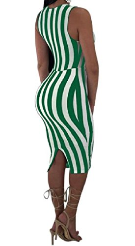 Green Evening Neck V Bowknot Club Dress Sexy Stripes Printed Coolred Skinny Women aY0xP