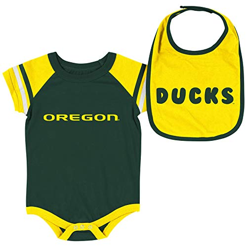 Colosseum NCAA Baby Short Sleeve Bodysuit and Bib 2-Pack-Newborn and Infant Sizes-Oregon Ducks-3-6 Months ()