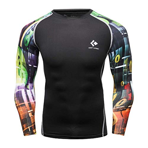 Mens Compression T Shirts Long Sleeve Base Layer Bodybuilding Tights Tops 12 M]()