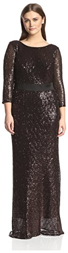 A.B.S. by Allen Schwartz Women's Elbow Sleeve Long Gown, Bronze, 3X