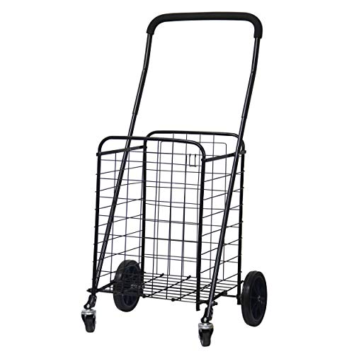 FORUP Utility Shopping Cart with Rolling Swivel Wheels (Black)