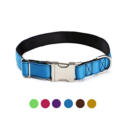 ComSaf Vivid Double Layer Nylon Dog Collar with Metal Buckle for Small Dogs Deepskyblue