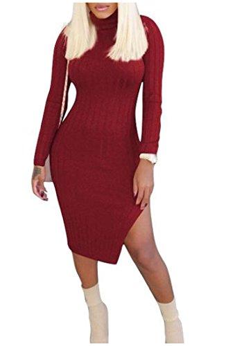 Côté Moulante Solide À Manches Longues Confortables Femmes Fente Mini-robe Chic De Vin Rouge