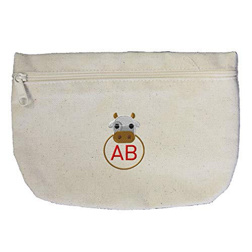 (Custom Embroidery Monogram 2 Letters Brown White Cow Frame Cotton Canvas Makeup Bag Zippered Pouch )