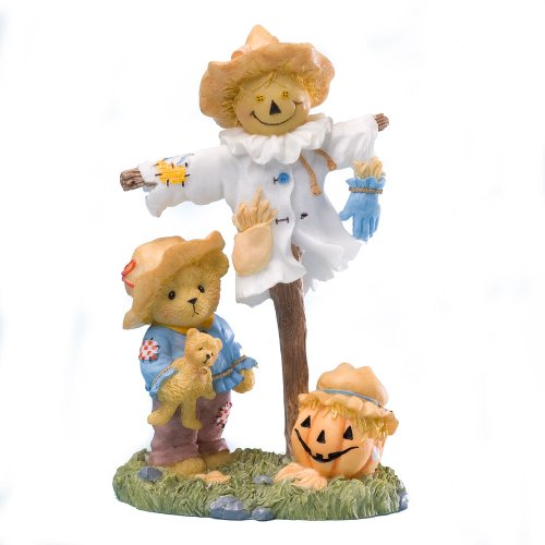Enesco 4023638 Cherished Teddies Collection Scarecrow Pumpkin Figurine Harvest Season Fall Thanksgiving
