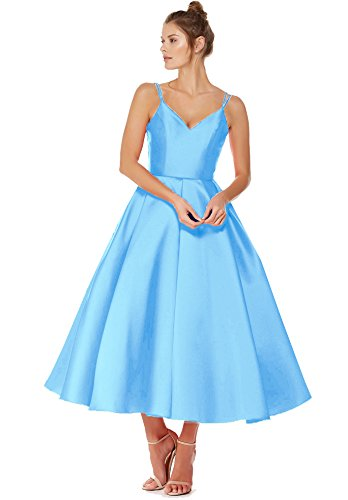 La Beauté Des Robes De Bal Robe De Retour À La Maison De Cou V Junior De Mariée En Satin Thé Longueur 2019 Le Bleu J92