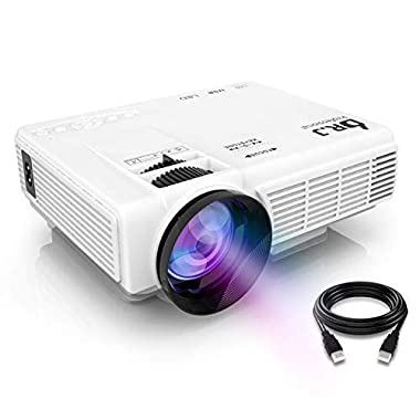 DR. J Professional HI-04 1080P Supported 4Inch Mini Projector with 170  Display - 40,000 Hours LED Full HD Video Projector, Compatible with HDMI,USB,SD (Latest Upgrade)