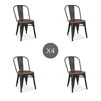 Tendencio Lot De 4 Chaises Style Industriel Avec Assise En Bois LOFTO