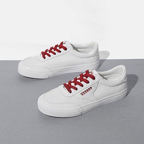 de en Cuir Plates Femmes roulettes Sport Lacets Chaussures à Blanc étudiantes Chaussures Planche Chaussures à de pour Artificiel Blanches O0BfHf