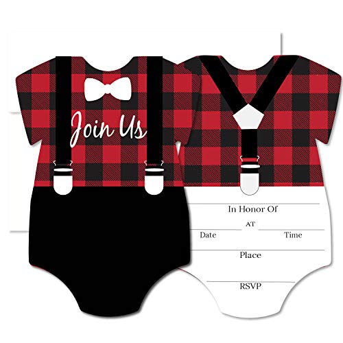 PaperGala Lumberjack Blank Invites 50 Pack Fill in Invitations with Envelopes for Baby Shower 1st Birthday Red Black Buffalo Plaid ()