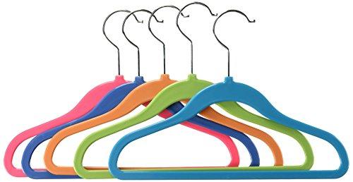 Whitmor Plastic Kid's Hangers, Set of 5, Assorted Colors