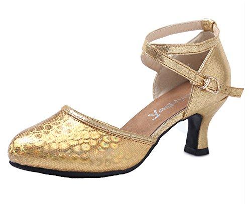 Abendschuhe Schnalle Schuhe Gold Knöchelriemen Dayiss Damen Latein wvSt4t