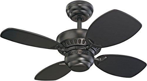 """Monte Carlo 4CO28BK Colony II Ceiling Fan, 28"""", Matte Black"""