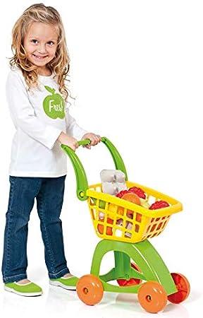 Carro de juguete para hacer la compra,Incluye frutas y alimentos,Fuerte y resistente,No es apropiado