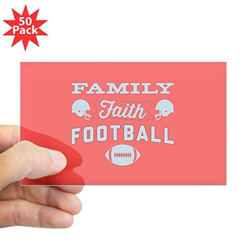 CafePress - Family Faith Football Re - Sticker (Rectangle 50 pk) by CafePress