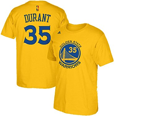(Kevin Durant Golden State Warriors Gold Jersey Name and Number T-Shirt Medium)