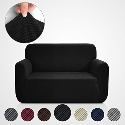 Rose Home Fashion RHF Jacquard-Stretch Sofa Cover, Slipcover for Leather Couch-Polyester Spandex Sofa Slipcover&Couch Cover for Dogs, 1-Piece Sofa Protector(Loveseat: Black)